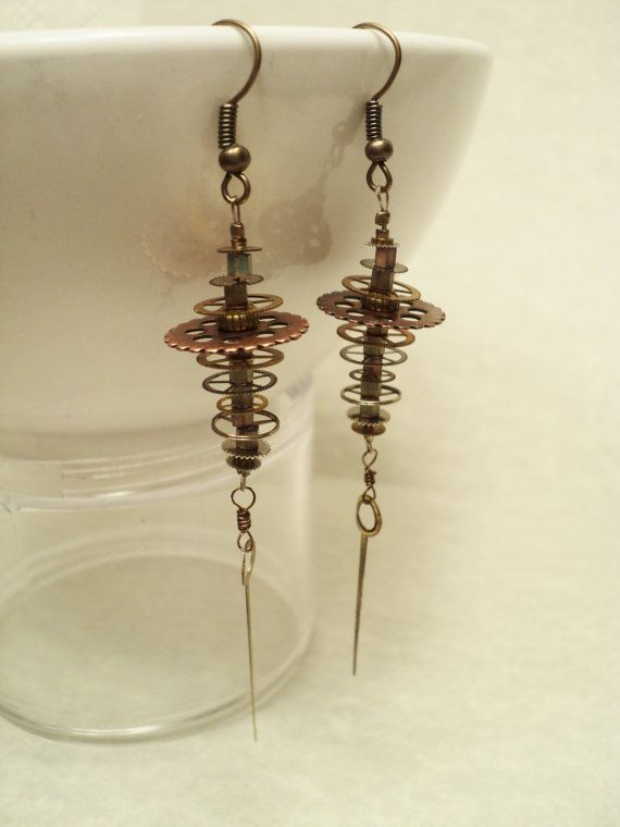 Victorian Steampunk Earrings of Stacked Watch by JacocaloDesign, $50.00