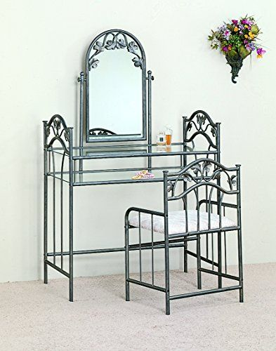 Home Decorators Collection | Coaster Nickel Bronze Finish Metal Vanity Table Stool  Mirror Set ** Read more  at the image link. Note:It is Affiliate Link to Amazon. #MyFavouriteHomeDecoratorsCollection