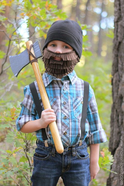 """Boys will be ready to chop down trees and yell """"timber!"""" with this easy DIY costume. Create a fuzzy beard with felt and an axe out of cardboard and a wooden stick. Get the tutorial at Make It & Love It."""
