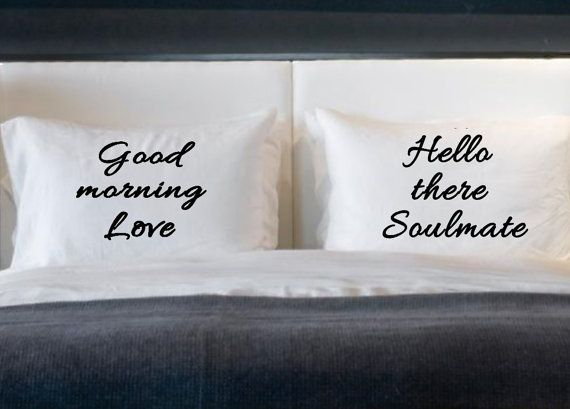 Soulmate Love His and Her Pillow cases for standard bed pillows boyfriend  girlfriend couples bedroom decor - Get 20+ Couple Bedroom Decor Ideas On Pinterest Without Signing Up