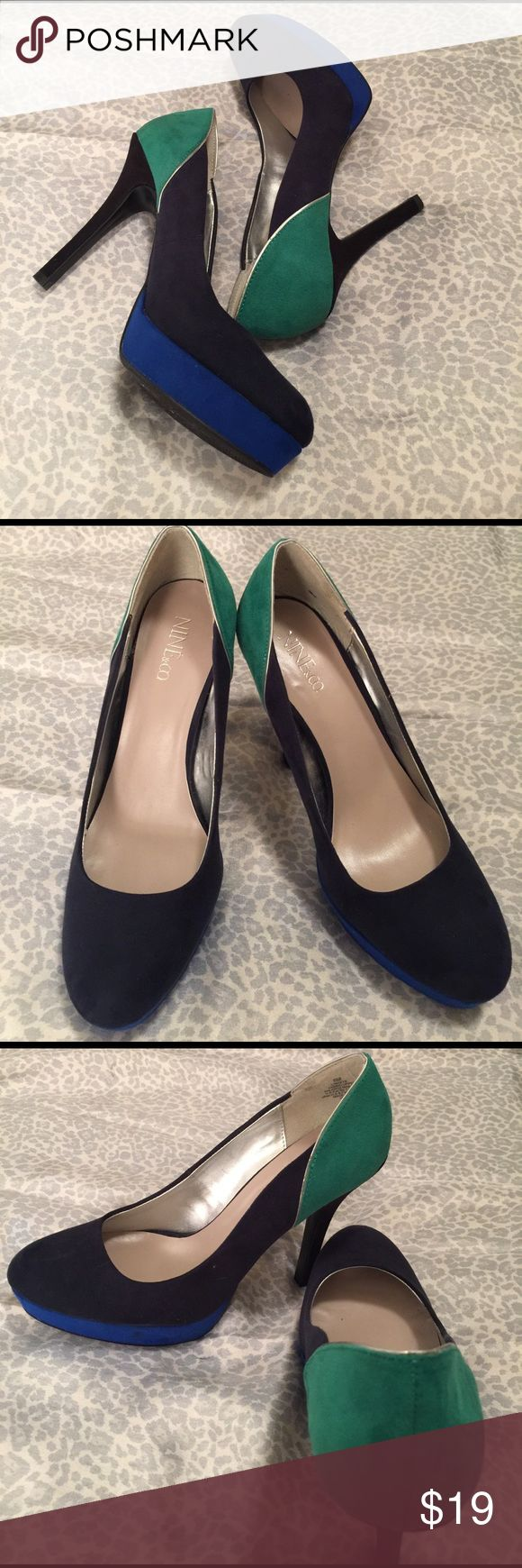 "Nine & Co. Navy Suede Multi Color high heel Suede 4"" multi color heels - navy upper, green back, blue wedge and black heel - worn once! Nine & Co. Shoes Heels"