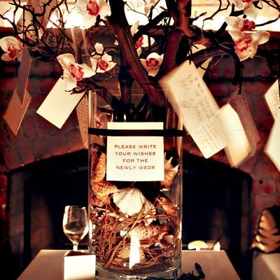 "Make a ""Wishing Tree"" instead of a Guest Book. Have Guests write well wishes for the bride & groom onto tags then they hang them on the Wishing Tree."