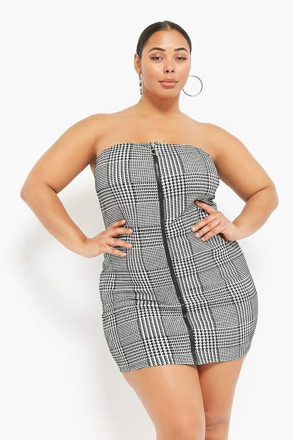 Forever 21 Plus Size Houndstooth Zip-Front Tube Dress. Plus size ...