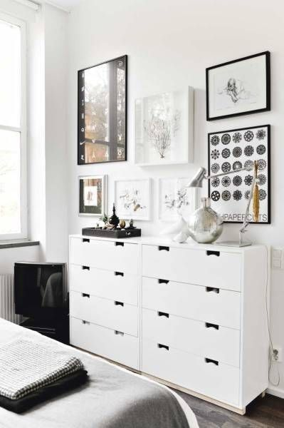 white room with black and white details