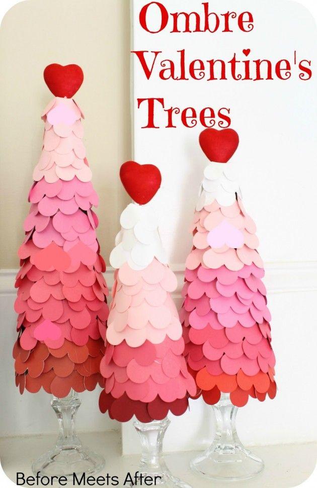 #DIY Ombre Valentine's Day Heart Tree