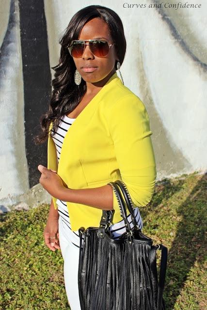Yellow Blazer! Stripes and White! I love it!