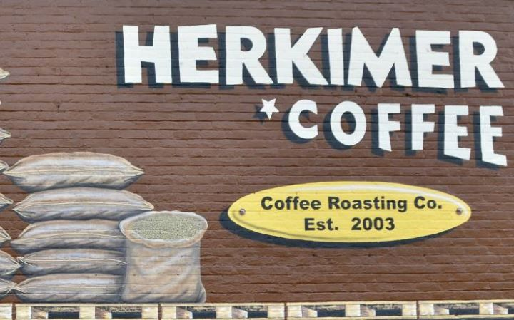 Herkimer Coffee...brewed with synesso machine, served with Mighty-O doughnuts.