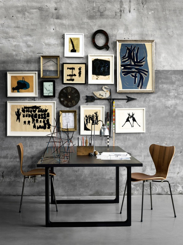 Kitchen table (Essay by Cecilie Manz) and wall decorations