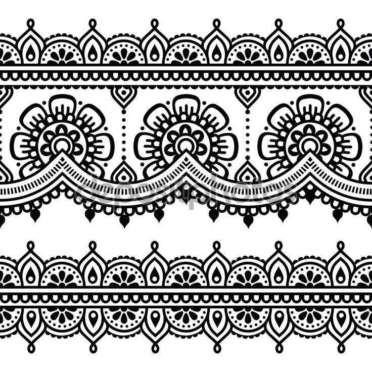 Mehndi, indiai Henna tetoválás zökkenőmentes minta — Stock Illusztráció #72597917