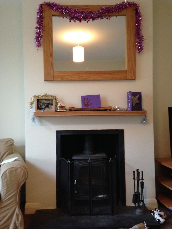 a floating oak shelf and mirror that we made for mr wickerman what do you