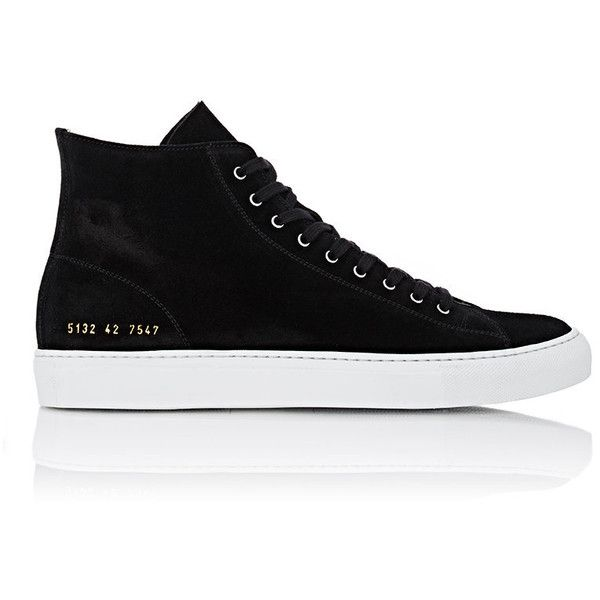 Common Projects Men's Tournament High-Top Sneakers ($420) ❤ liked on Polyvore featuring men's fashion, men's shoes, men's sneakers, shoes, men, sapatos, sneakers, brown, mens suede lace up shoes and mens high top shoes