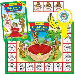 Monkey banana game to help practice oral motor exercises in a fun and structured way.