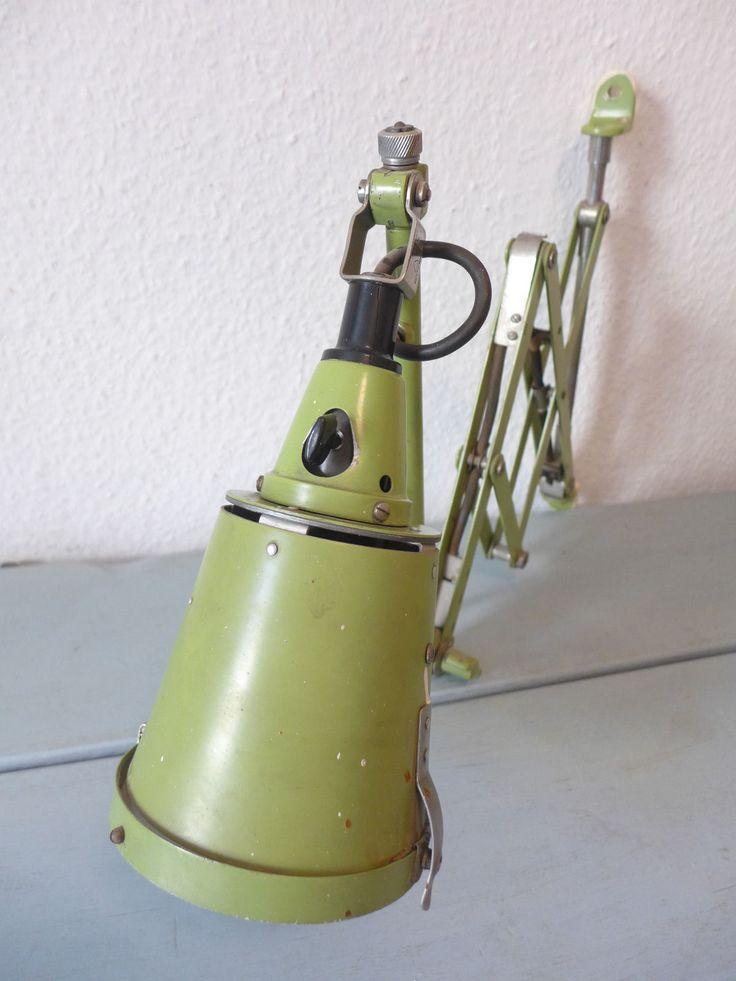 3 x Midgard Scherenlampe Werkstattlampe Bauhaus Lampe (Kaiser Idell Rowac Ära)