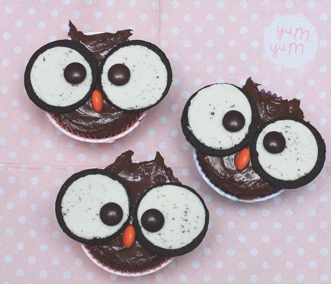 "( Puppenzimmer ): Eulen Muffins / Cupcakes ""huuuhuuu"""