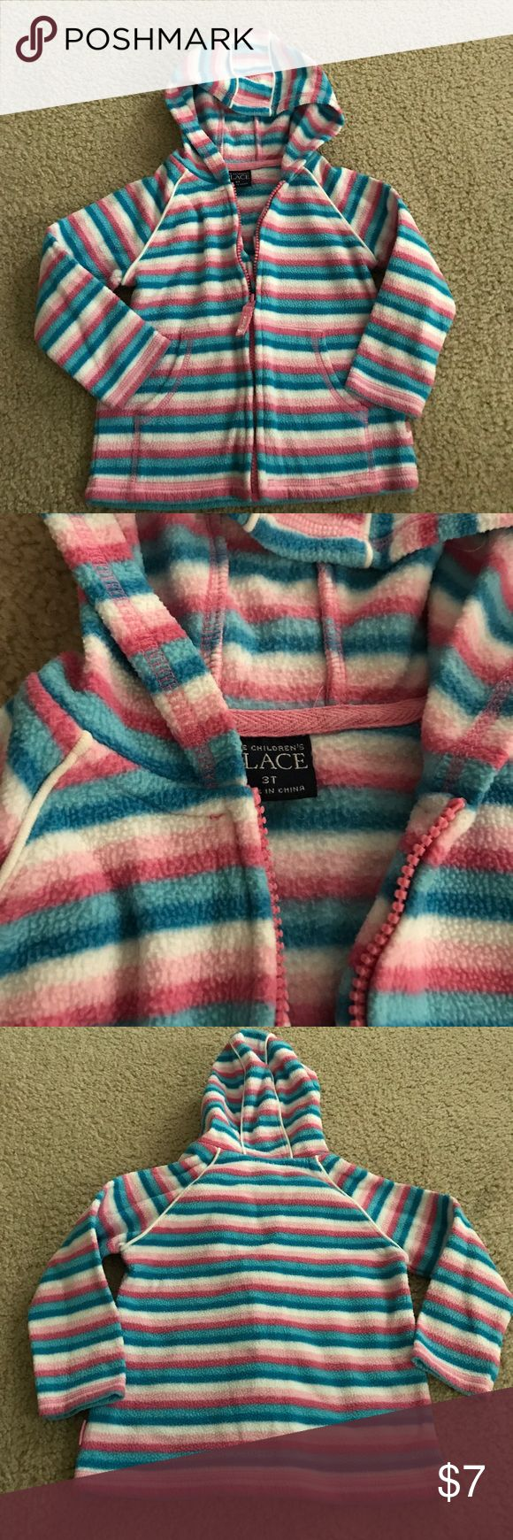 Childrens place girls 3T striped zip up hoodie Children's place girls size 3T pinks/blues/white striped zip up hooded sweat shirt with pockets body:100% polyester trim: 100% cotton Children's Place Shirts & Tops Sweatshirts & Hoodies