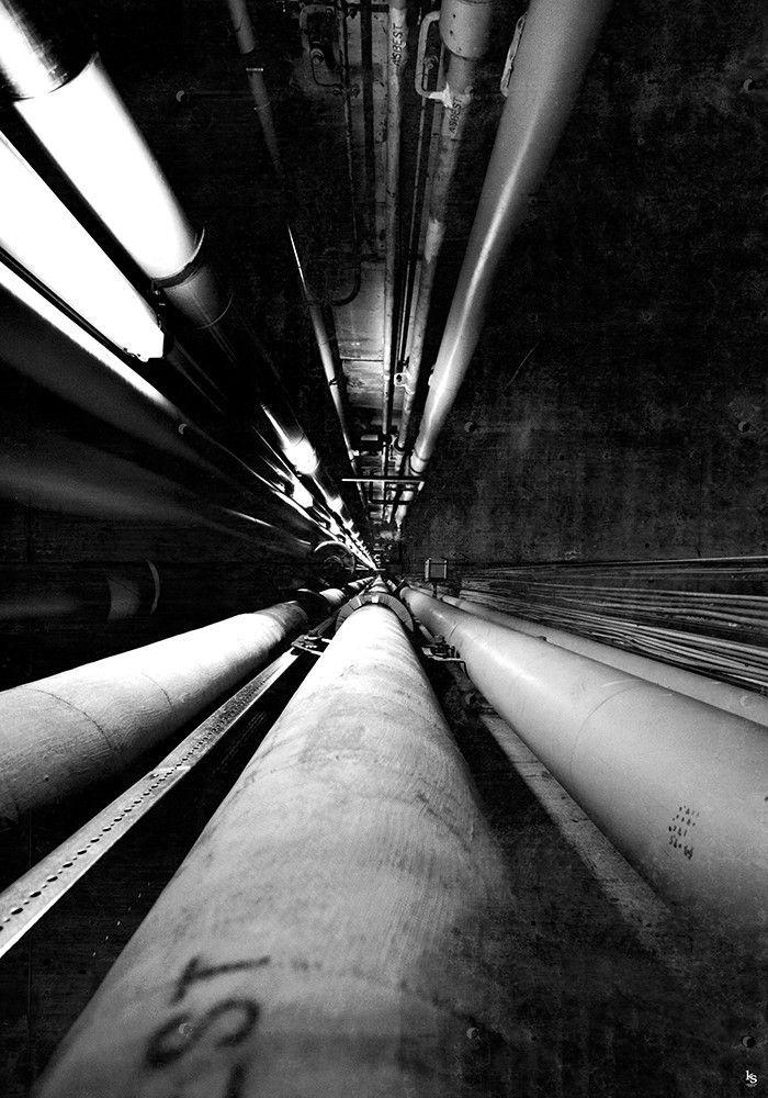 Sort/Hvid Fotografi fra kældergangen under kødbyen