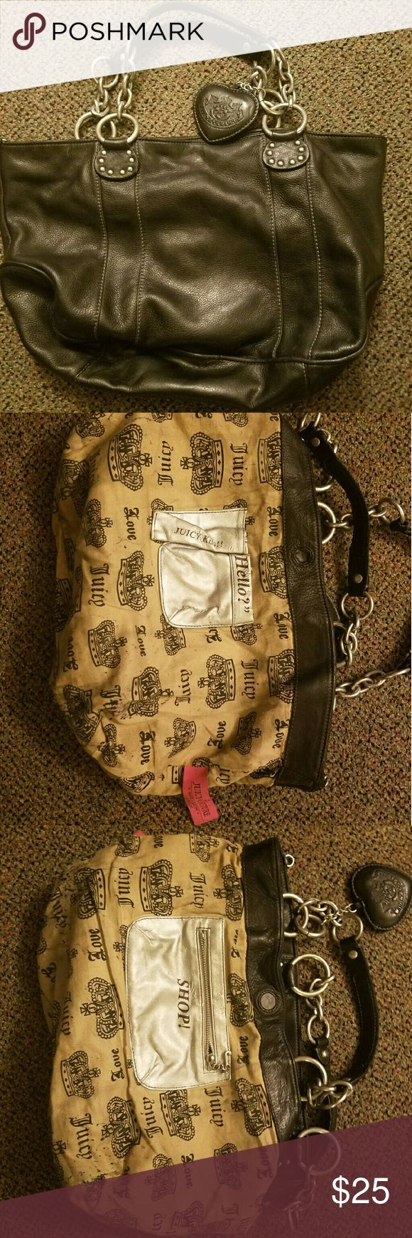 Juicy couture purse Juicy couture women's purse 100% leather no pockets on the outside had several on the inside. Had some very light stains on inside bottom I turned inside out to see Juicy Couture Bags
