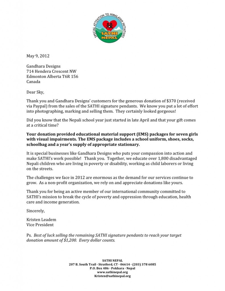 thank you letter from sathi nepal   u201cyour donation provided