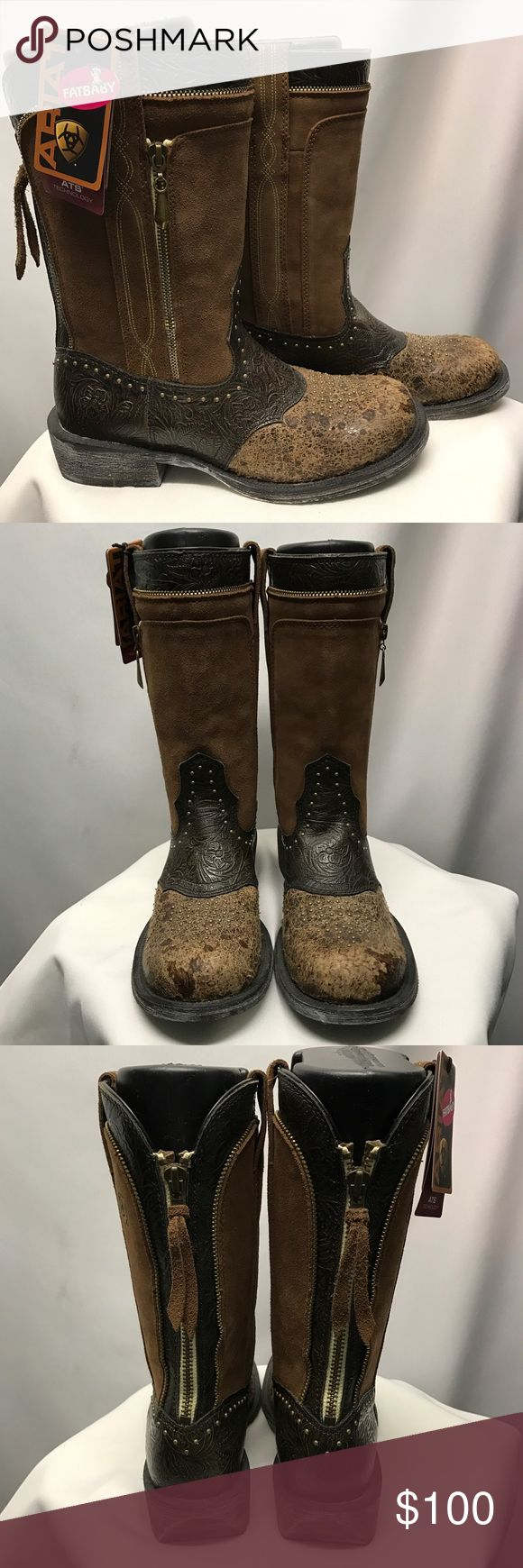 ARIAT fatbaby boots ARIAT Fatbaby brown suede & leather boots with bronze hardware. Back zipper accent & studs throughout boots make these an instant eye-catcher! Ariat Shoes