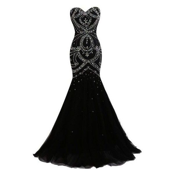 Dresstells Long Mermaid Prom Dress Corset Back Tulle Evening Gowns wit ❤ liked on Polyvore featuring dresses, prom dresses, long corset dress, beaded corset, beaded dress and corsette dress