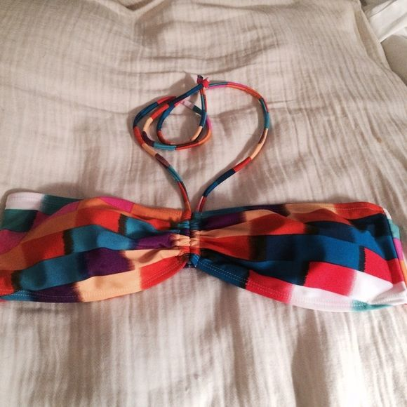 ☀️Color Block Bikini Top Sweet Victorian color block bikini top, so cute wish it fit me :-( Probably fit 38 and up NWOT never worn☀️☀️SUMMER TIME SALE☀️ BOGO ALL ITEMS WITH ☀️ Sweet Victorian  Swim Bikinis