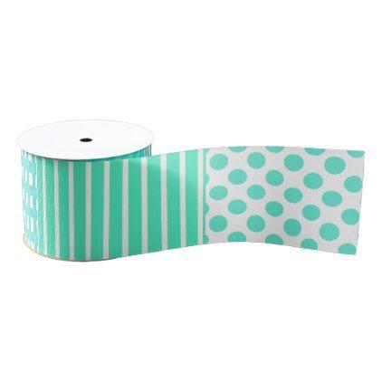 Pastel Turquoise Pattern Mix Grosgrain Ribbon - pattern sample design template diy cyo customize