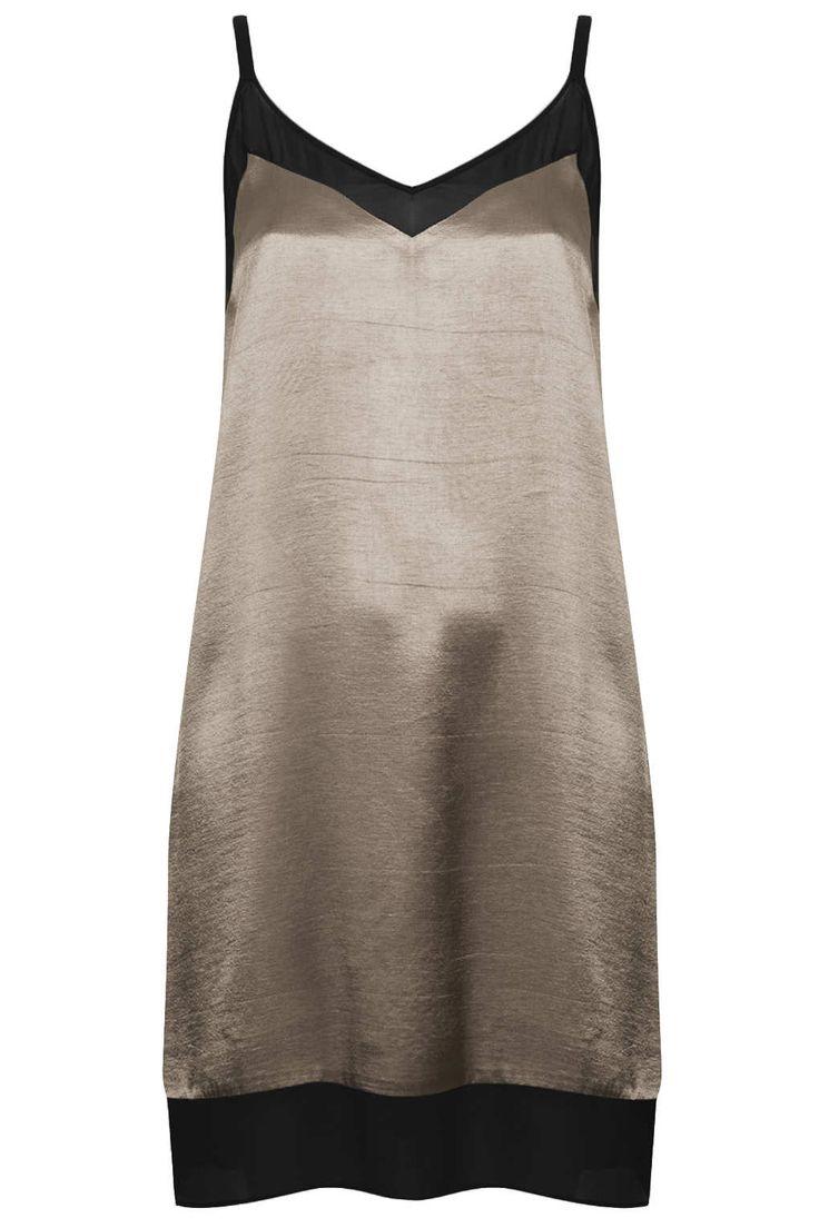 Topshop V Front Chiffon Insert Dress in Black (PEWTER) | Lyst
