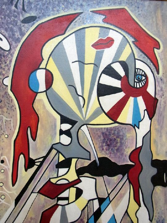 Svetlana Posochkova - Geometric abstract scene, dated 1991, 118cm x 82cm  Picture first exhibited at The National Museum of Valletta from 12th to 31st October 1991 Estimate £40.00 to £60.00 (Lot no: 111 in sale on 05/08/2014) The Cotswold Auction Company