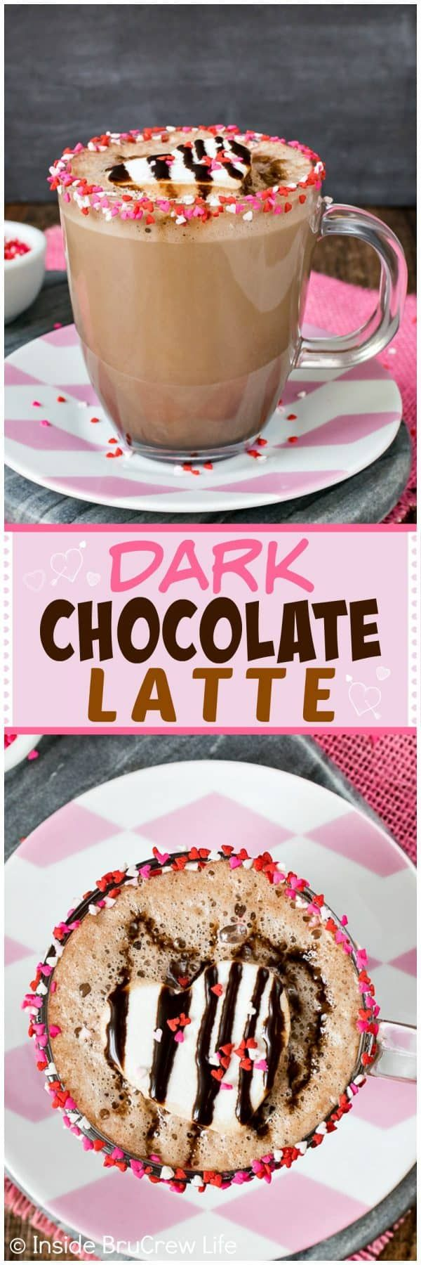 Dark Chocolate Latte - a rim of sprinkles and two times the chocolate makes this a delicious coffee drink. Easy recipe to make at home to save money. #coffee #chocolate #latte #drink #homemade #coffeeshop