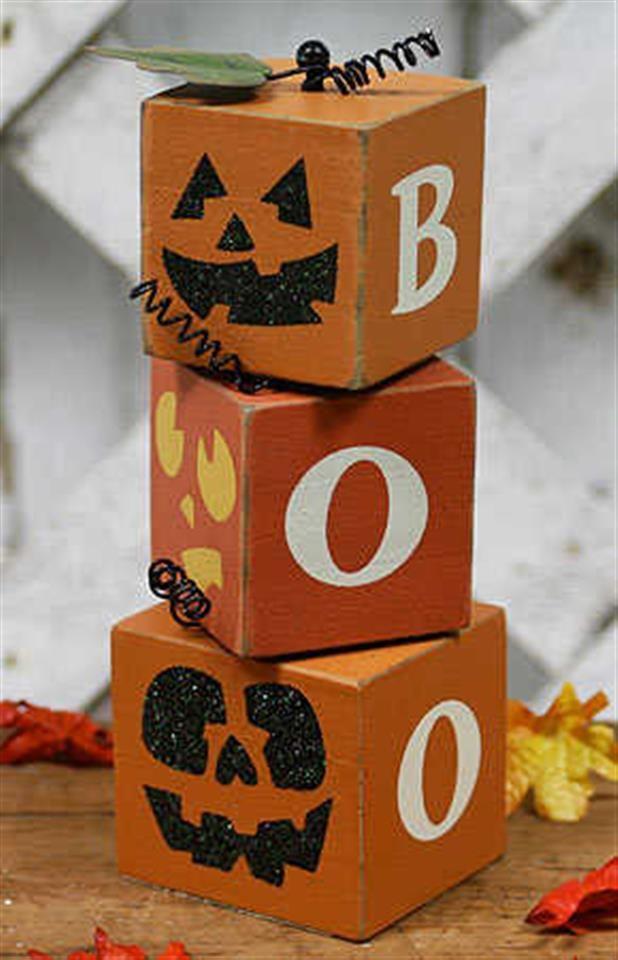 primitive wood boo halloween block set table and shelf decorations