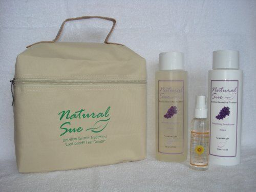 Natural Sue: Kit Brazilian Keratin Post-treatment - Salt-free Shampoo Grape 16oz + Conditioner Grape 16oz + Silky Serum + FREE Travel Bag by Natural Sue. $31.00. Salt Free Shampoo Grape. Sunflower Seed Extract provides protection against heat and environmental damage.. Conditioner Grape. Brazilian Keratin Post-Treatment. Perfect for colored hair too. Shampoo: The ingredients work synergistically to protect hair from damage by environmental stressors of the sun and a...