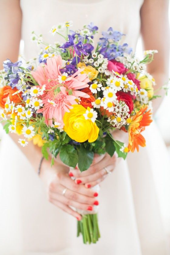 Jenna collected flowers and she and her bridal party put them together the day before.