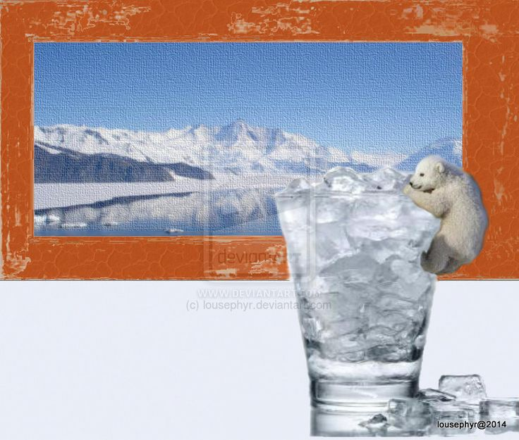 Baby Bears Lost Ice by lousephyr © 2014on deviantART When all the Arctic Ice is gone, We can share our Ice; Painting in the background of Ice , so baby Polar Bear  feels more at Home; Glass of Ice is the  quantity that  Mankind allows Polar Bears to have ;