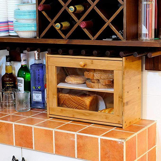 Amazon Com Goodpick Bamboo 2 Layer Large Capacity Bread Box