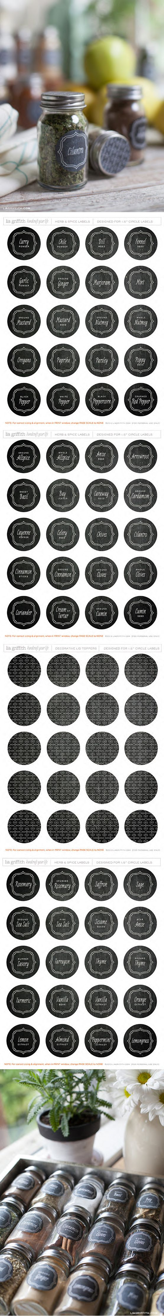 #papercraft #downloads #printables Free Printable Round Herb Spice Labels