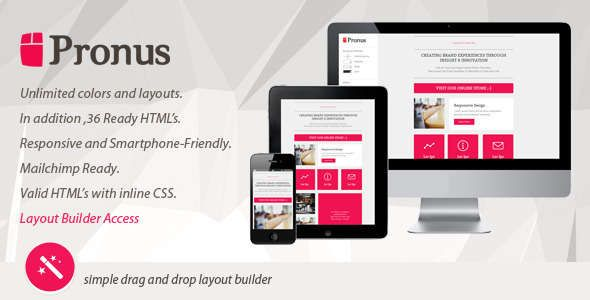 180 Absolute Best Responsive Email Templates - PRONUS - Flat Responsive Email With Layout Builder