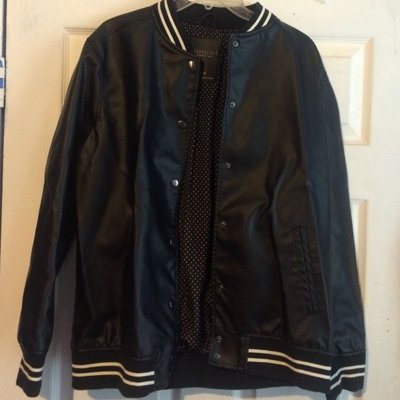 Aeropostale black letterman jacket Good for layering a hoodie underneath! Worn once. Aeropostale Jackets & Coats Utility Jackets