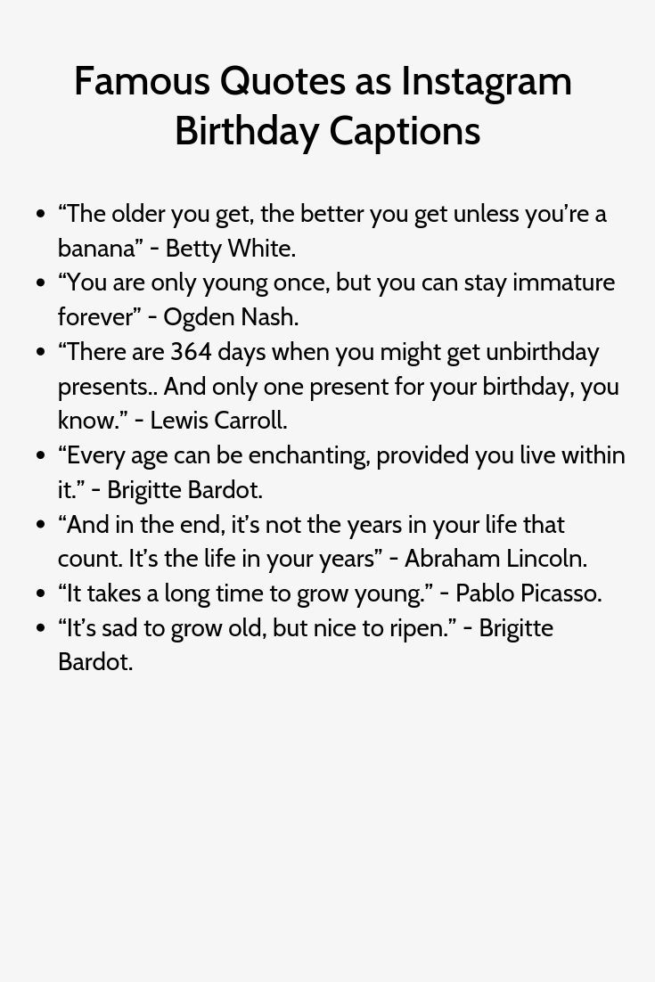 Beruhmte Zitate Als Instagram Geburtstags Untertitel Birthday