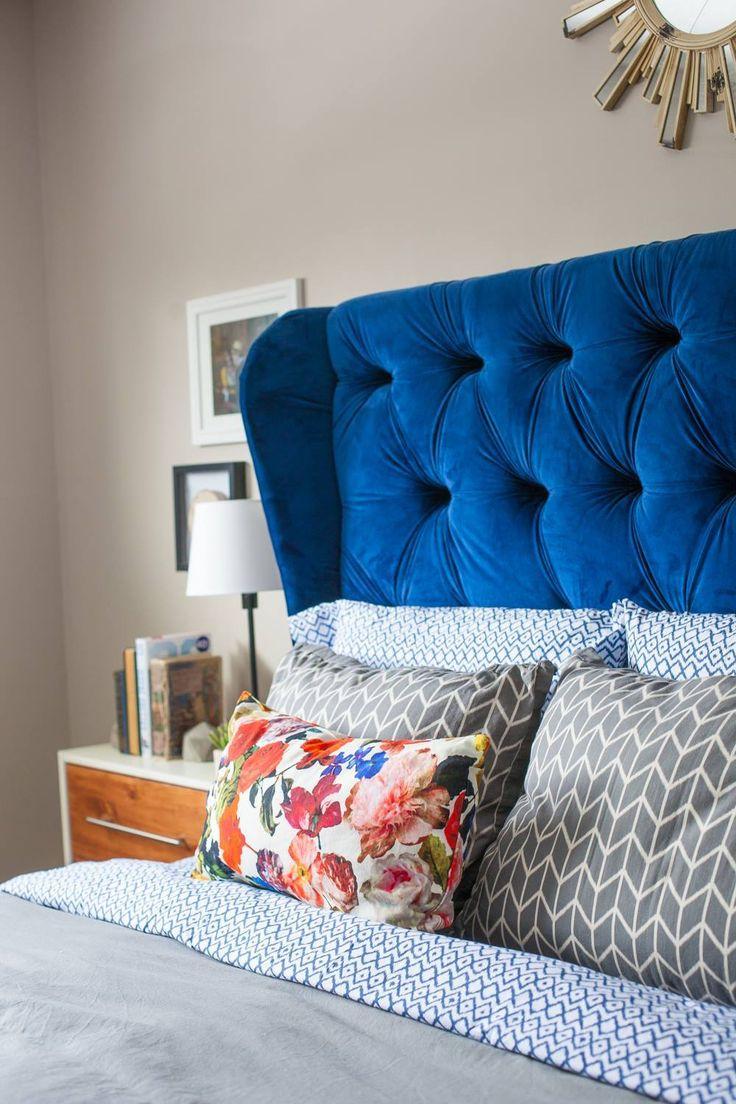 Modern master bedroom. Modern. elcectic.  Blue Velvet Headboard.  Tufted headboard.  suzannekryton.com