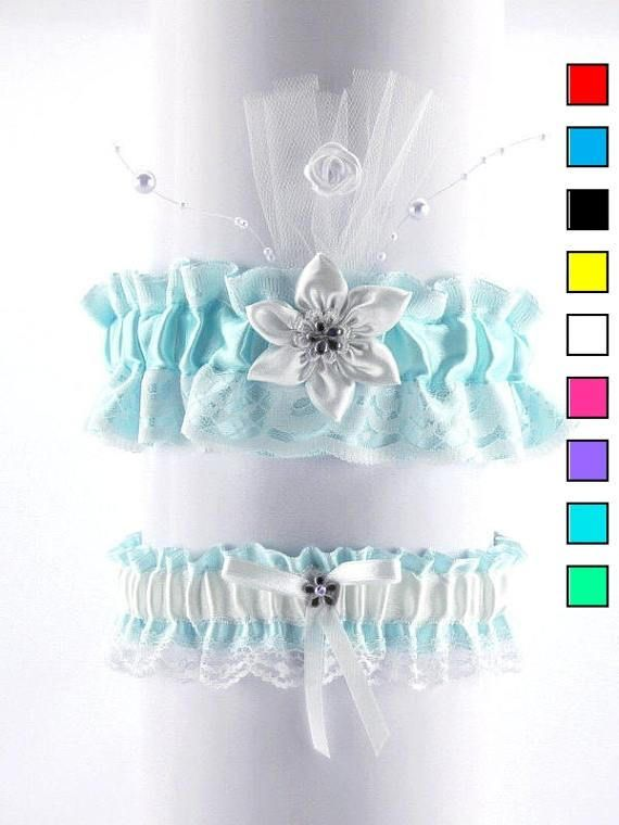 Wedding garter set bridal garter set white turquoise lace