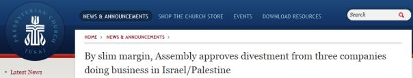 The Presbyterian Church USA turns against Israel. But they have already rejected Christ & His Word, so is this surprising? A brief analysis....