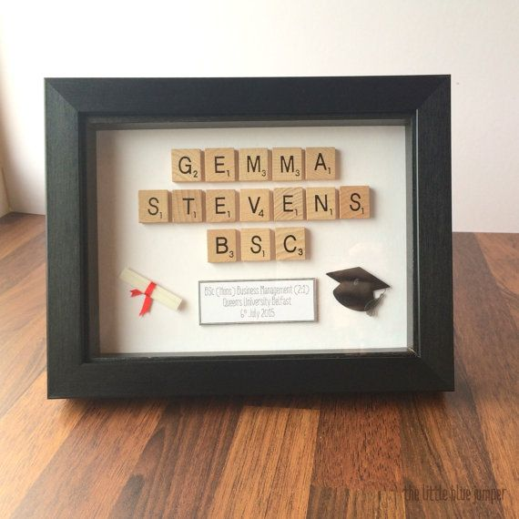 Personalised Graduation Plaque - Scrabble Style Art [8x6 box frame in black] The perfect gift for a new graduate to commemorate their achievement! Choose any message you wish - graduation details, congratulation message etc.   Check out our facebook page for more of our designs and custom gifts. >> https://www.facebook.com/pages/The-Little-Blue-Jumper/777459512331158?ref=hl