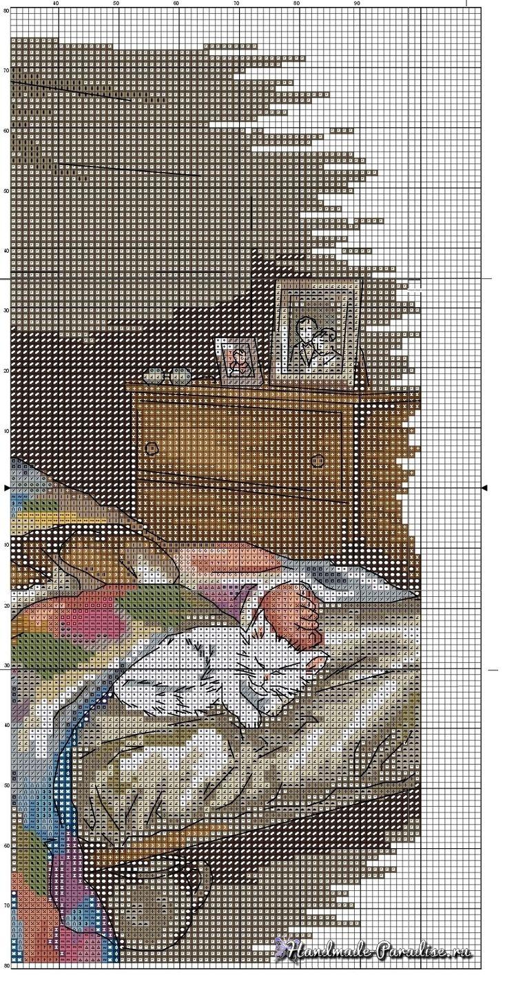 вышивка крестом схема karate card cross stitch kit