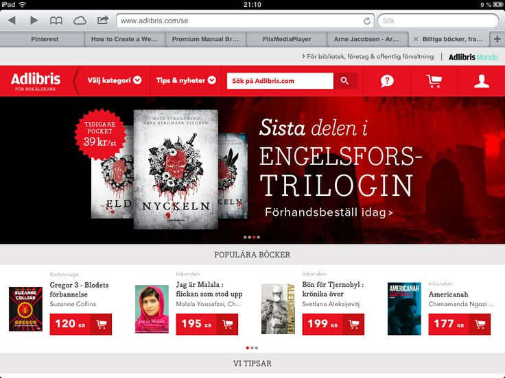 Online book shop, www.adlibris.se