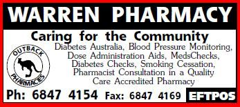 Welcome to the Warren Pharmacy! Our experienced pharmacists are here to help you with your medications and enquiries. We are a member of the Outback Pharmacies group. We are situated at 118 Dubbo Street, Warren NSW 2824 (next to Spar Supermarket). We offer services such as dose administration aids, meds  checks. diabetes checks. Eftpos available. Phone us on 6847 4154.