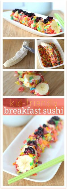 Breakfast Cereal Banana Sushi Recipe: Kids will look forward to breakfast when you serve slices of yogurt-covered banana coated in Fruity Pebbles cereal.