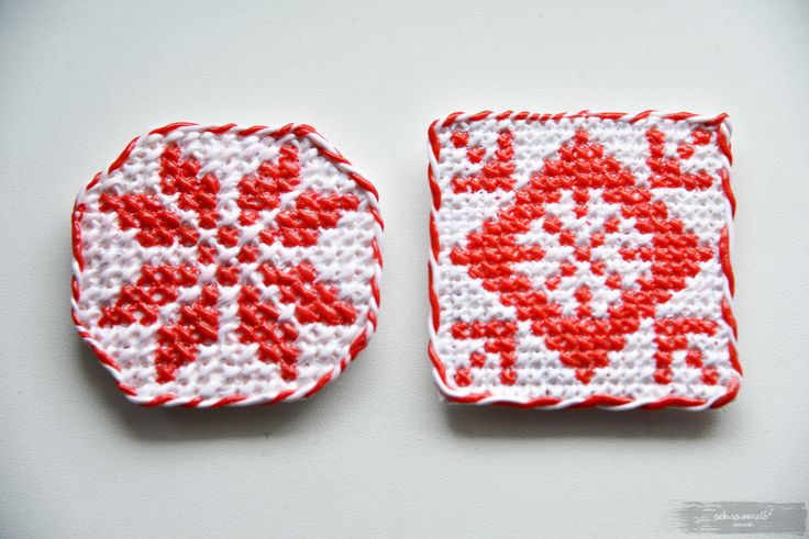 Magnets with different 'Belarusian vyshyvanka' ornaments, polymer clay only!