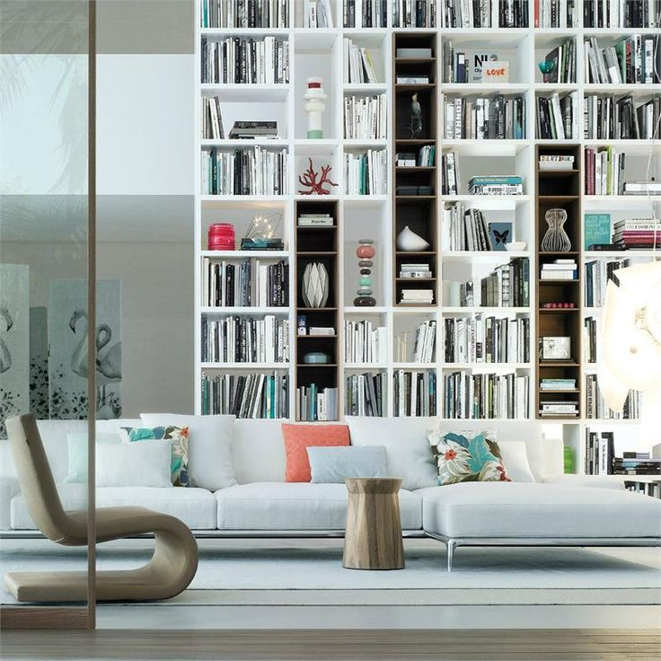 Poliform USA Wall System allows for a wide range of design solutions for a library, entertainment center of the most sophisticated wall unit. The system is completely freestanding and adapts to all architectural environments.