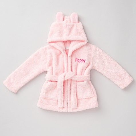 Hooded Fleece Robe - Pink - Personalised Baby Gifts