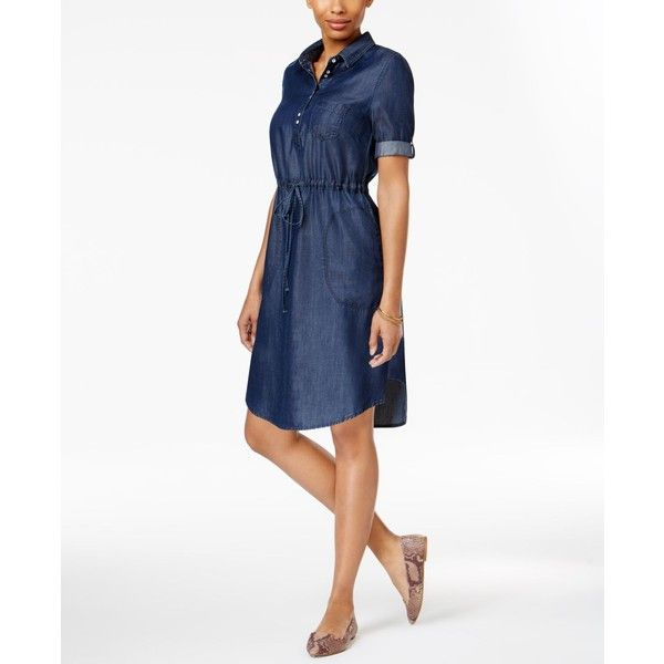 Lee Platinum Petite Chambray Shirtdress ($42) ❤ liked on Polyvore featuring dresses, dark chambray, petite dresses, long shirt dress, shirt dresses, chambray shirt dress and white dress